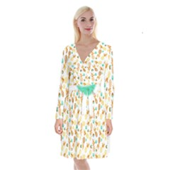 Seamless Summer Fruits Pattern Long Sleeve Velvet Front Wrap Dress by TastefulDesigns