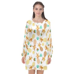 Seamless Summer Fruits Pattern Long Sleeve Chiffon Shift Dress
