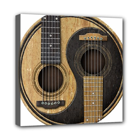 Old And Worn Acoustic Guitars Yin Yang Mini Canvas 8  X 8  by JeffBartels