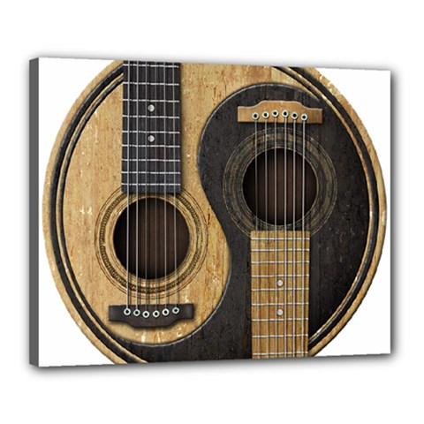 Old And Worn Acoustic Guitars Yin Yang Canvas 20  X 16  by JeffBartels