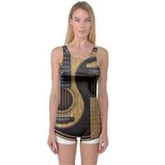 Old And Worn Acoustic Guitars Yin Yang One Piece Boyleg Swimsuit by JeffBartels