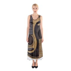 Old And Worn Acoustic Guitars Yin Yang Sleeveless Maxi Dress by JeffBartels