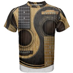 Old And Worn Acoustic Guitars Yin Yang Men s Cotton Tee by JeffBartels