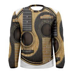 Old And Worn Acoustic Guitars Yin Yang Men s Long Sleeve Tee by JeffBartels