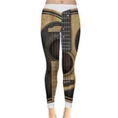 Old And Worn Acoustic Guitars Yin Yang Classic Winter Leggings