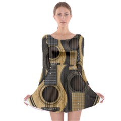 Old And Worn Acoustic Guitars Yin Yang Long Sleeve Skater Dress by JeffBartels