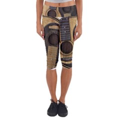 Old And Worn Acoustic Guitars Yin Yang Capri Yoga Leggings