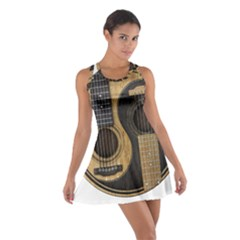 Old And Worn Acoustic Guitars Yin Yang Cotton Racerback Dress by JeffBartels