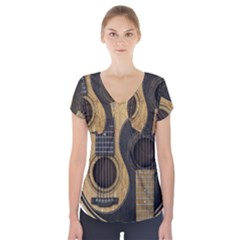 Old And Worn Acoustic Guitars Yin Yang Short Sleeve Front Detail Top by JeffBartels