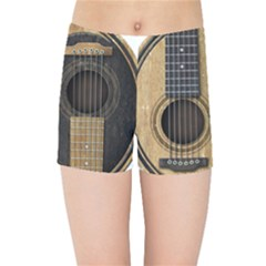 Old And Worn Acoustic Guitars Yin Yang Kids Sports Shorts by JeffBartels