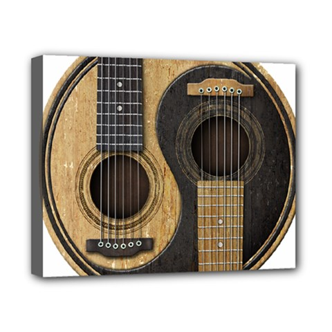 Old And Worn Acoustic Guitars Yin Yang Canvas 10  X 8  by JeffBartels