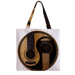 Old And Worn Acoustic Guitars Yin Yang Grocery Tote Bag by JeffBartels