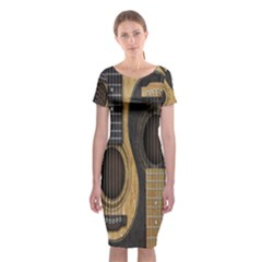 Old And Worn Acoustic Guitars Yin Yang Classic Short Sleeve Midi Dress by JeffBartels