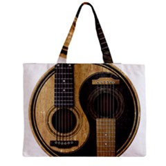 Old And Worn Acoustic Guitars Yin Yang Medium Zipper Tote Bag by JeffBartels