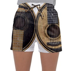 Old And Worn Acoustic Guitars Yin Yang Sleepwear Shorts
