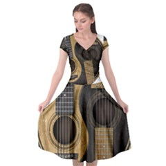 Old And Worn Acoustic Guitars Yin Yang Cap Sleeve Wrap Front Dress by JeffBartels