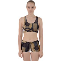 Old And Worn Acoustic Guitars Yin Yang Work It Out Sports Bra Set