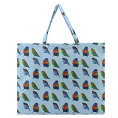 Blue Birds Parrot Pattern Zipper Large Tote Bag