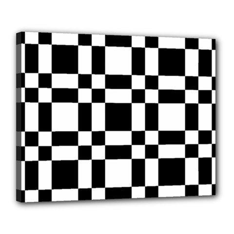 Checkerboard Black And White Canvas 20  X 16  by Colorfulart23
