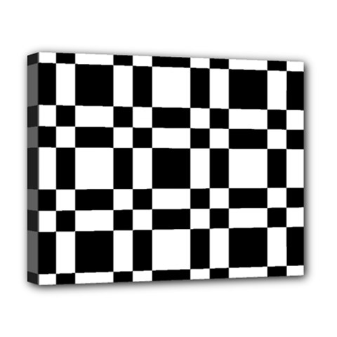 Checkerboard Black And White Deluxe Canvas 20  X 16   by Colorfulart23