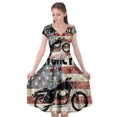 Motorcycle Old School Cap Sleeve Wrap Front Dress