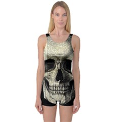 Newspaper Skull One Piece Boyleg Swimsuit