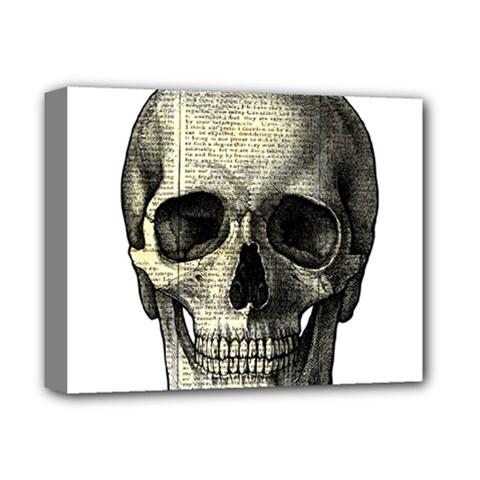 Newspaper Skull Deluxe Canvas 14  X 11  by Valentinaart