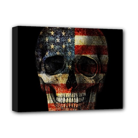 American Flag Skull Deluxe Canvas 16  X 12   by Valentinaart