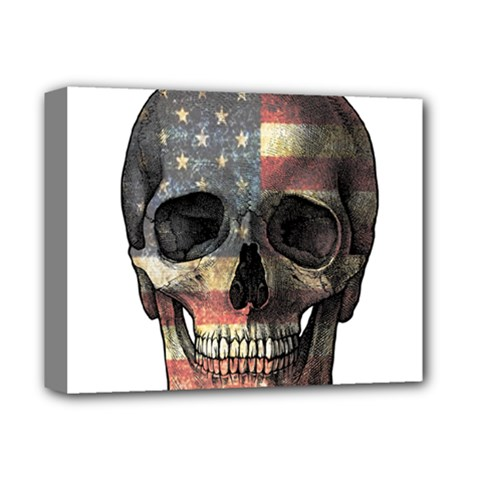 American Flag Skull Deluxe Canvas 14  X 11  by Valentinaart