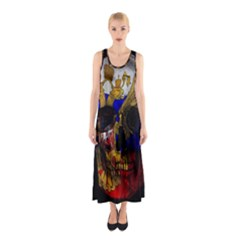Russian Flag Skull Sleeveless Maxi Dress