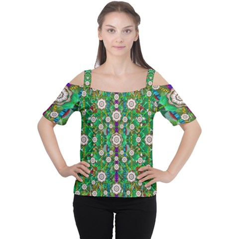 Pearl Flowers In The Glowing Forest Cutout Shoulder Tee by pepitasart