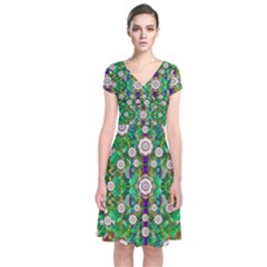 Pearl Flowers In The Glowing Forest Short Sleeve Front Wrap Dress by pepitasart