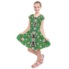 Pearl Flowers In The Glowing Forest Kids  Short Sleeve Dress by pepitasart