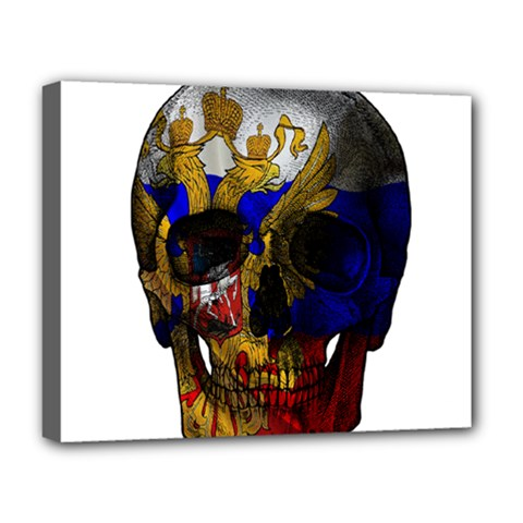 Russian Flag Skull Deluxe Canvas 20  X 16   by Valentinaart