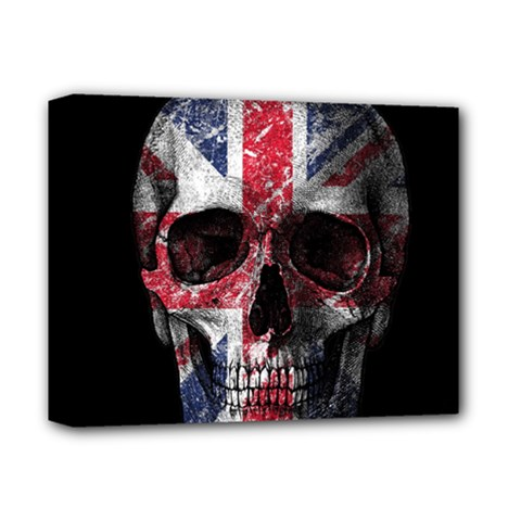 Uk Flag Skull Deluxe Canvas 14  X 11  by Valentinaart