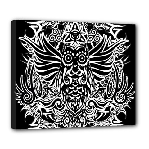 Tattoo Tribal Owl Deluxe Canvas 24  X 20   by Valentinaart