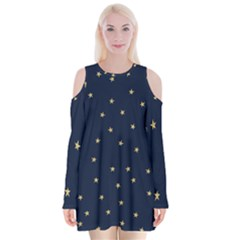 Navy/gold Stars Velvet Long Sleeve Shoulder Cutout Dress