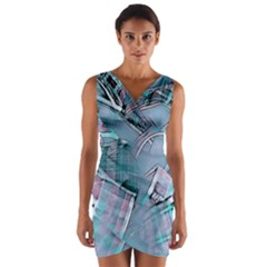 Another Modern Moment Aqua Wrap Front Bodycon Dress by MoreColorsinLife