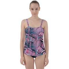 Another Modern Moment Pink Twist Front Tankini Set