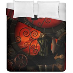 Steampunk, Wonderful Steampunk Lady In The Night Duvet Cover Double Side (california King Size) by FantasyWorld7