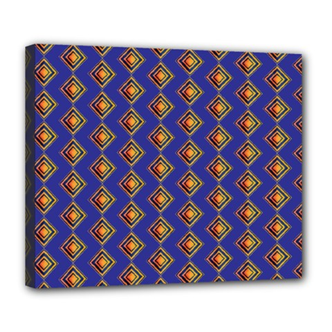Blue Geometric Losangle Pattern Deluxe Canvas 24  X 20