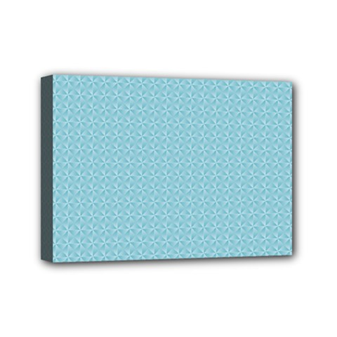 Blue Pattern Mini Canvas 7  X 5  by paulaoliveiradesign