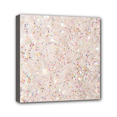 White Sparkle Glitter Pattern Mini Canvas 6  X 6  by paulaoliveiradesign