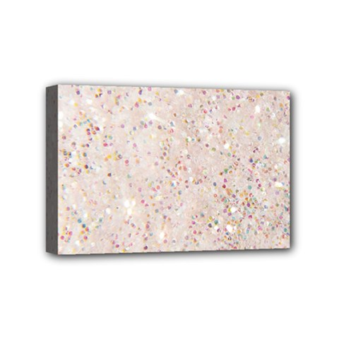 White Sparkle Glitter Pattern Mini Canvas 6  X 4  by paulaoliveiradesign