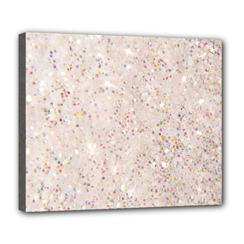White Sparkle Glitter Pattern Deluxe Canvas 24  X 20   by paulaoliveiradesign