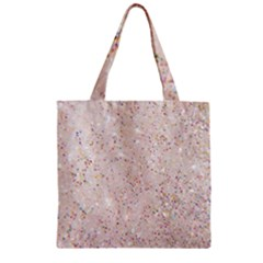 White Sparkle Glitter Pattern Zipper Grocery Tote Bag by paulaoliveiradesign