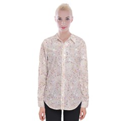 White Sparkle Glitter Pattern Womens Long Sleeve Shirt by paulaoliveiradesign