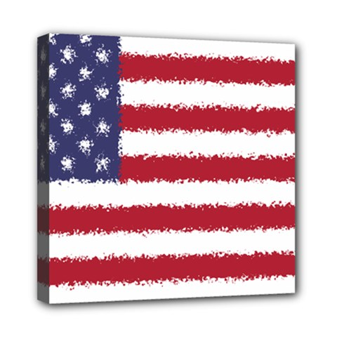 Flag Of The United States America Mini Canvas 8  X 8  by paulaoliveiradesign