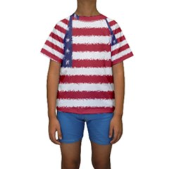 Flag Of The United States America Kids  Short Sleeve Swimwear by paulaoliveiradesign