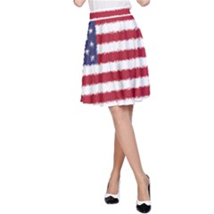 Flag Of The United States America A Line Skirt by paulaoliveiradesign